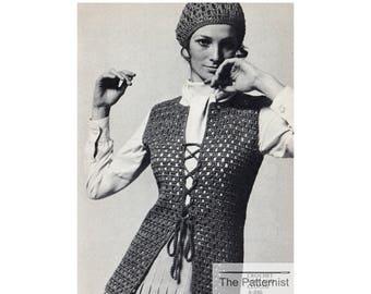 Boho Crochet Pattern for Vest and Cloche Hat - Vintage Crochet Pattern PDF Download - Crochet Patterns for Women - SKU 93-3