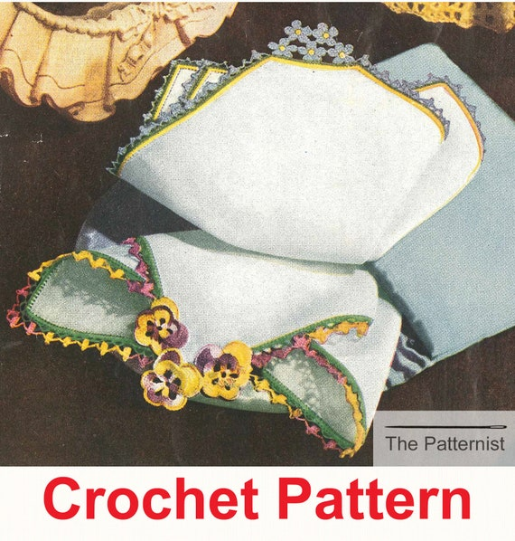 Vintage Crochet Pattern for Floral Handkerchief Edgings | Etsy