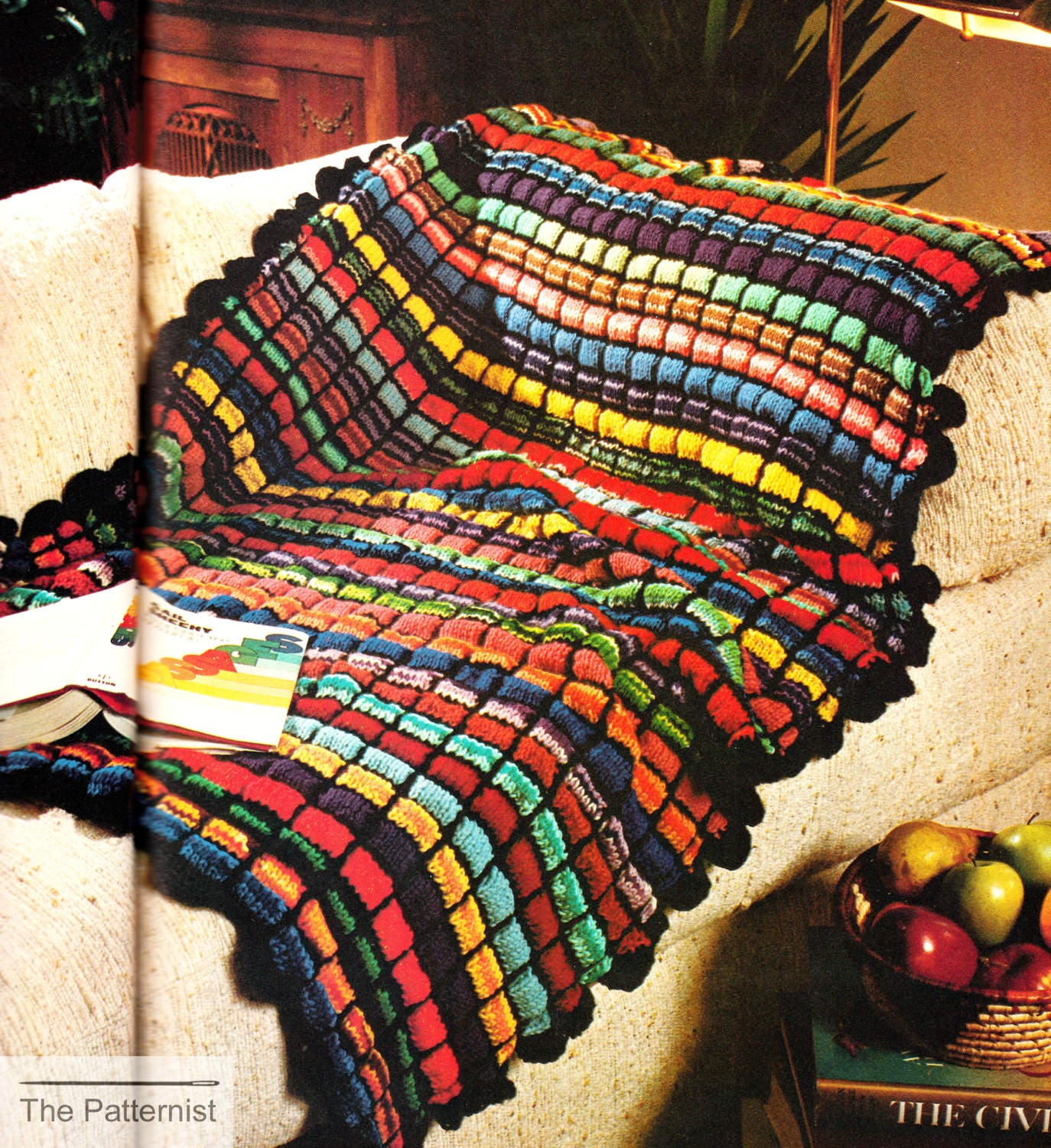Vintage Afghan Knitting Pattern Crochet Edging Stained Glass ...