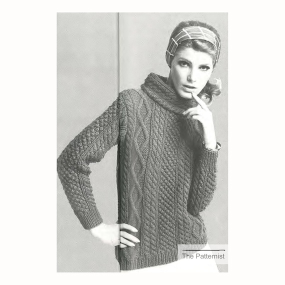 Vintage Knitting Pattern Funnel Neck Aran Sweater Women\'s | Etsy