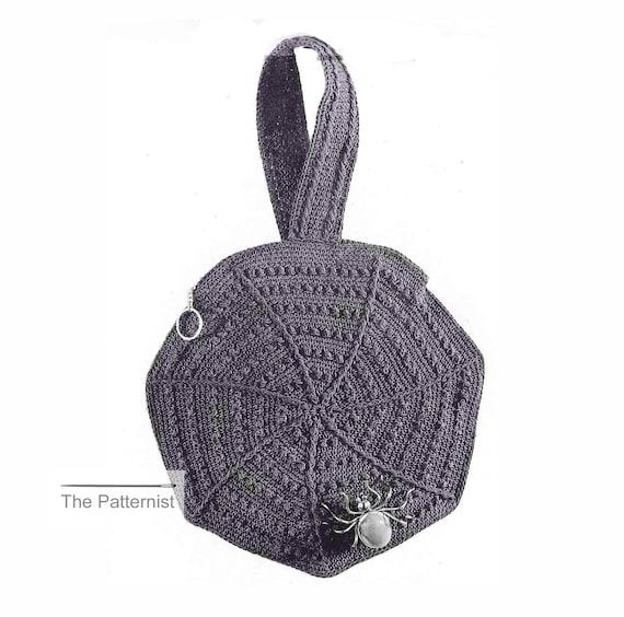 Spider Web Purse Crochet Pattern 1930s Vintage Goth Handbag Etsy