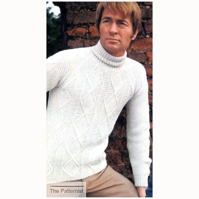 aa2914dd466313 PDF Vintage Knitting Pattern for Men s Turtleneck Sweater