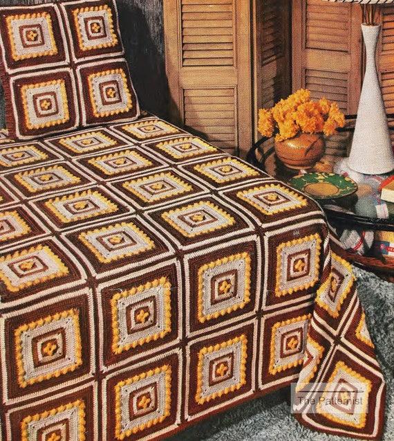Granny Square Bedspread Crochet Pattern Vintage Mid Century Etsy