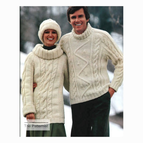Turtleneck Sweaters Knitting Pattern Mens Womens Etsy