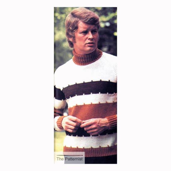 10b80635ef5bb9 Vintage Knitting Pattern for Men s Striped Tri-Color
