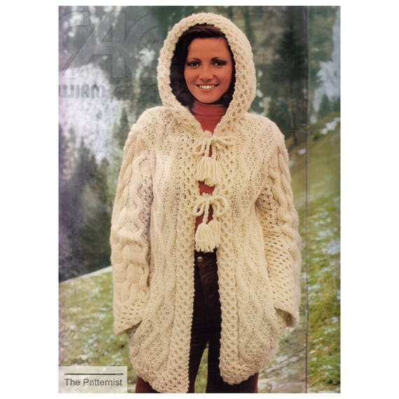 Knitting Pattern Hooded Coat Aran Styling Super Bulky Yarn Etsy