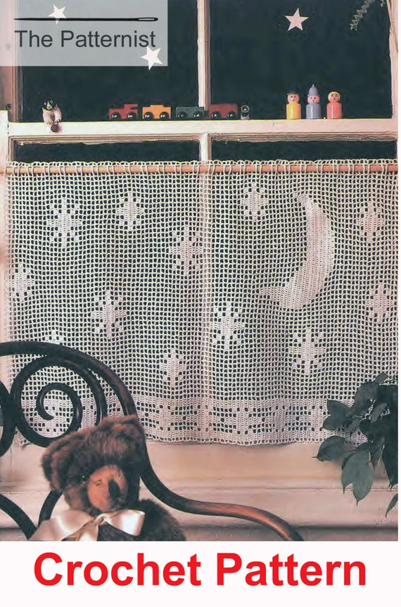 Vintage Filet Crochet Pattern For Cafe Curtain With Stars And Etsy