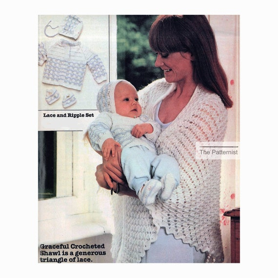 Baby Sweater, Booties and Bonnet Vintage Knitting Pattern, Shawl for