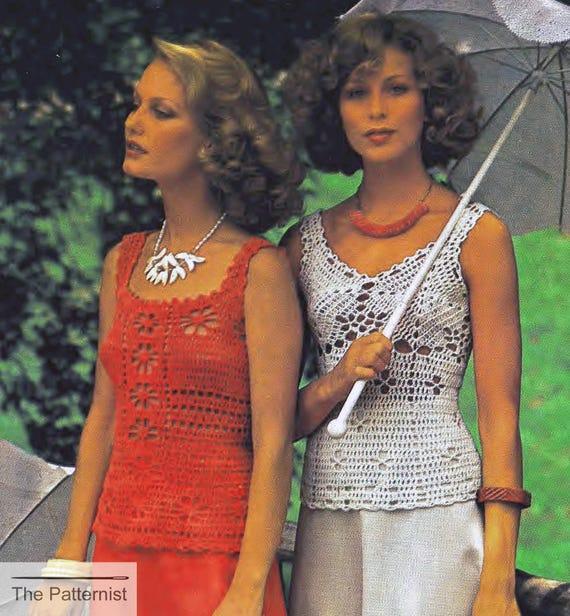 Vintage Crochet Pattern For Two Sleeveless Blouses Summer Tops Etsy
