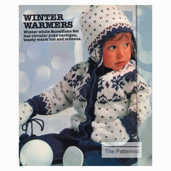05eb862f9 Knitting Pattern for Baby or Toddler Snowflake Sweater Set