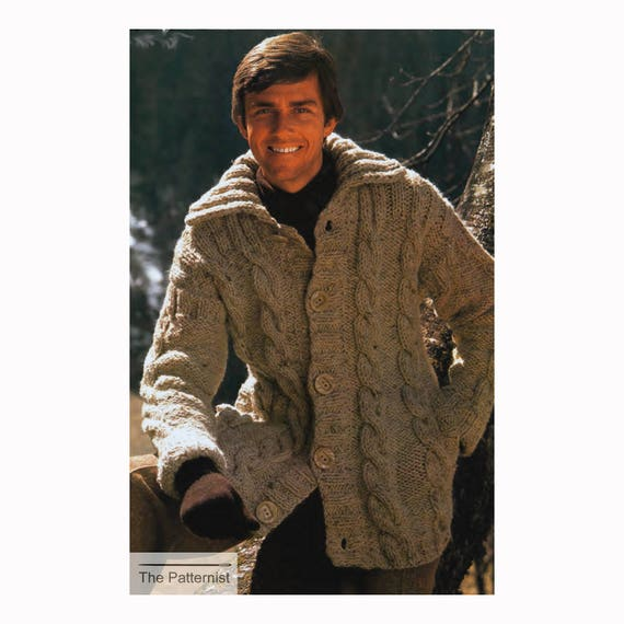 Mens Cable Cardigan Knitting Pattern Vintage 70s Bulky Etsy