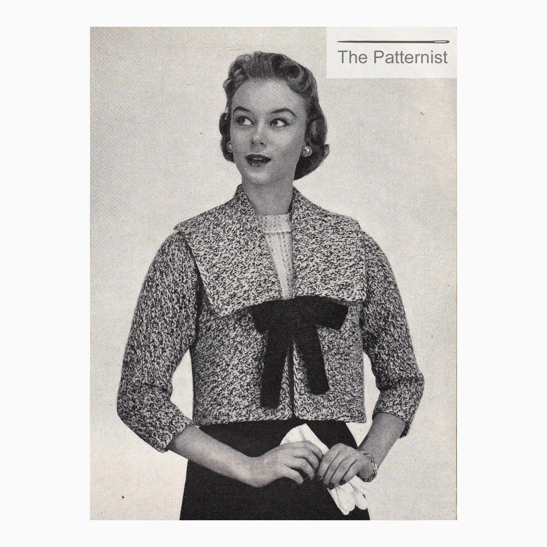 50s knitting pattern womens crop box jacket large square