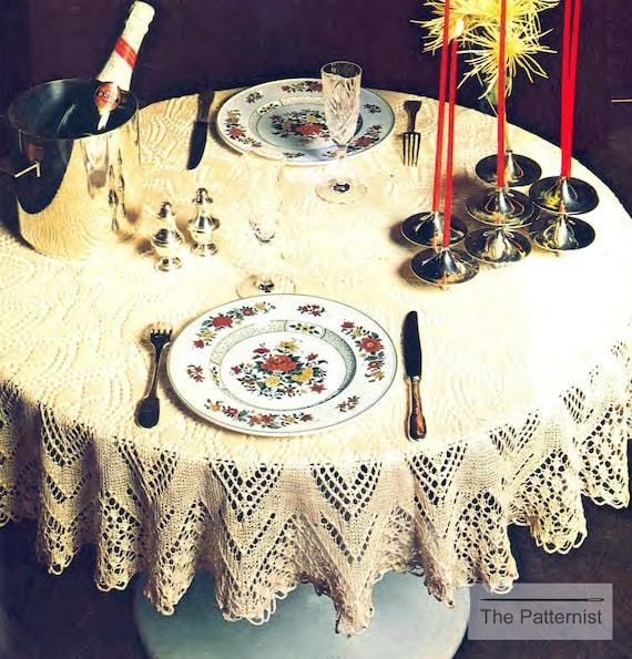 Circular Tablecloth Knitting Pattern Vintage Round 52 Inch | Etsy