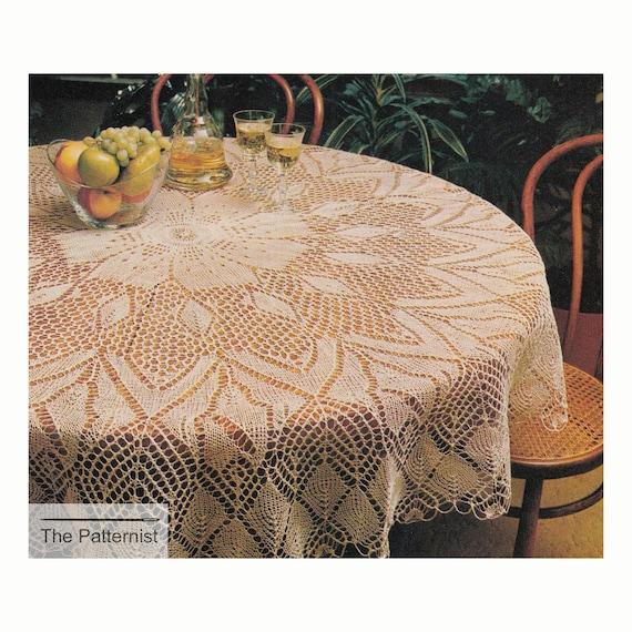 Circular Tablecloth Knitting Pattern Vintage Round 66 Inch | Etsy