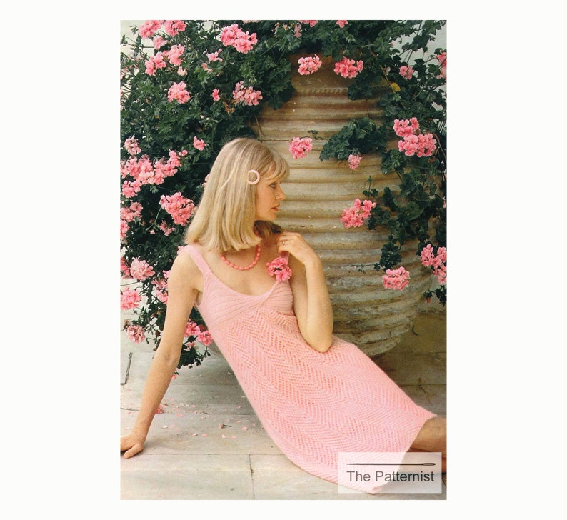 df6482b409c35 Vintage Knitting Pattern Dress Empire Waist Sleeveless | Etsy