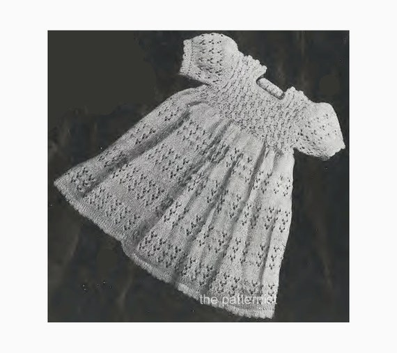 Baby Knitting Pattern Vintage Dress With Lace Skirt And