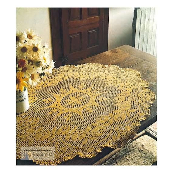 Vintage Filet Crochet Pattern For Centerpiece Large Doily