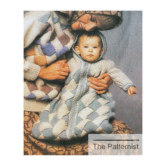 Vintage Knitting Pattern For Entrelac Baby Bunting With Hood Etsy