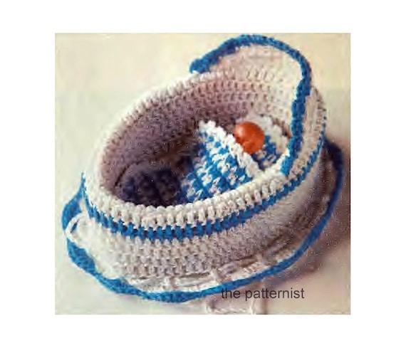 "Vintage Crochet Pattern for Doll Bed Converts to Purse Cradle Handbag Bag For Up To 5"" Doll PDF Download SKU 45-12"