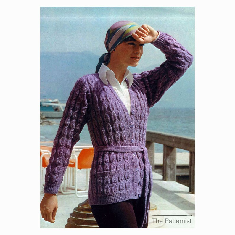 e0f32f0edcc63f Cardigan Knitting Pattern Tie-Belt Sweater Women s Vintage