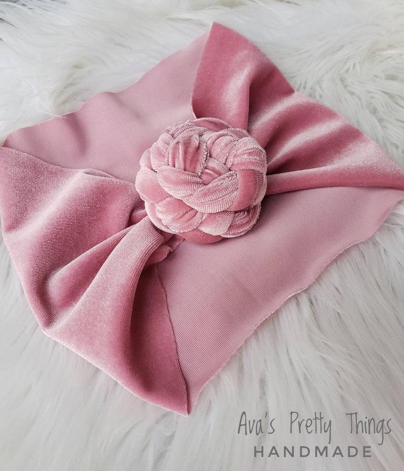 Blush Mauve Velvet Rose Knot Turban ~ Top Knot ~ Girls Hair accessories ~ Ladies ~ Toddler ~ RESTOCKED!!