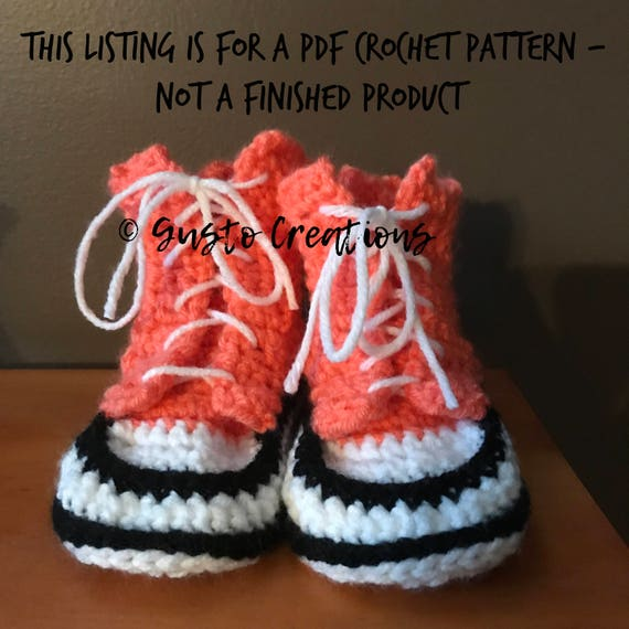 Infanttoddler Converse Slippers Crochet Pdf Pattern High Top Etsy