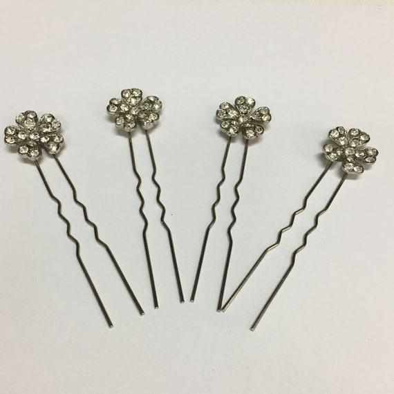 Set of four vintage bridal metal and rhinestone ha