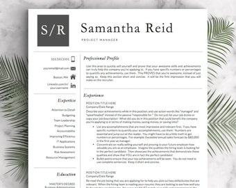 Professional Resume Template for Word and Pages (US Letter and A4) 1, 2 and 3 Page Resume Template, Cover Letter | Instant Download