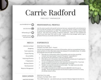 professional resume template for word pages and openoffice etsy
