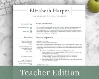 Teacher resume template | Etsy