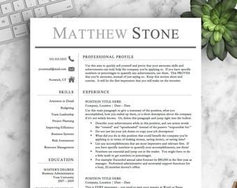 Professional Resume Template for Word & Pages | One, Two and Three Page Resume Template | Professional CV Template | INSTANT DOWNLOAD Resume