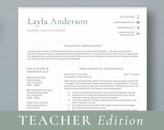 Principal Resume Template Teacher 2 Page CV Education Teaching Administration