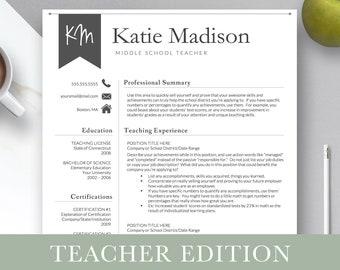 Teacher resume | Etsy