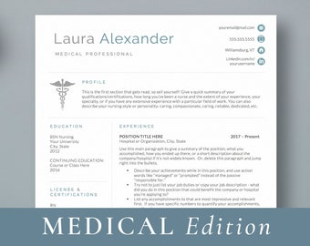 Nursing Resume Template For Medical Professionals Nurse Doctor CV Student Practitioner Word