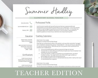 Teacher Resume Template For Word And Pages