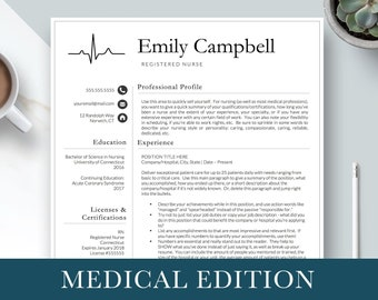 Nursing Resume Template CV For Student Nurse Medical Assistant RN Physician EMS