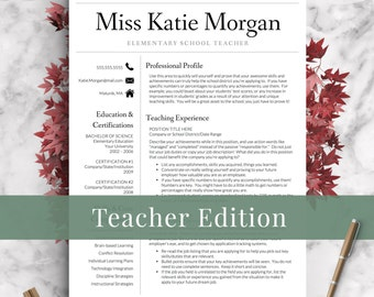 Teacher Resume Template for Word & Pages Teacher CV | Etsy