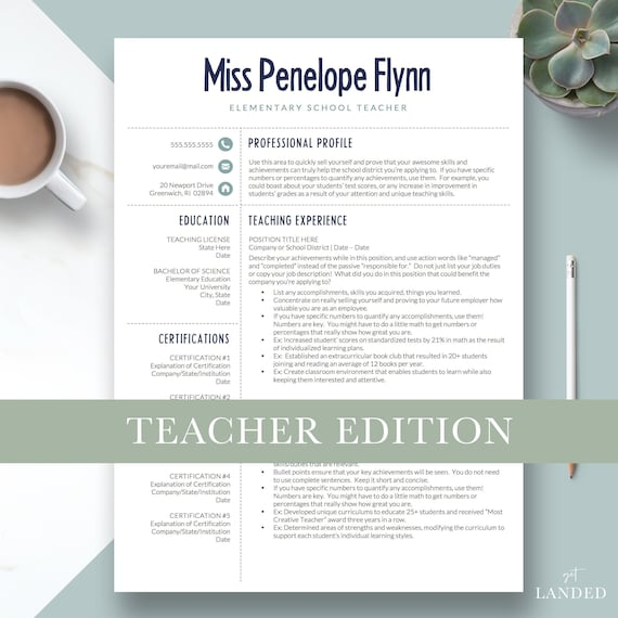 elementary teacher resume template for word  u0026 pages one