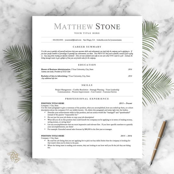 Professional Resume Template for Word, Pages and OpenOffice / Simple, Easy Resume | Professional CV Template | Downloadable Resume