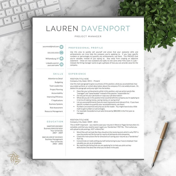 Modern Resume Template For Word And Pages Creative Modern