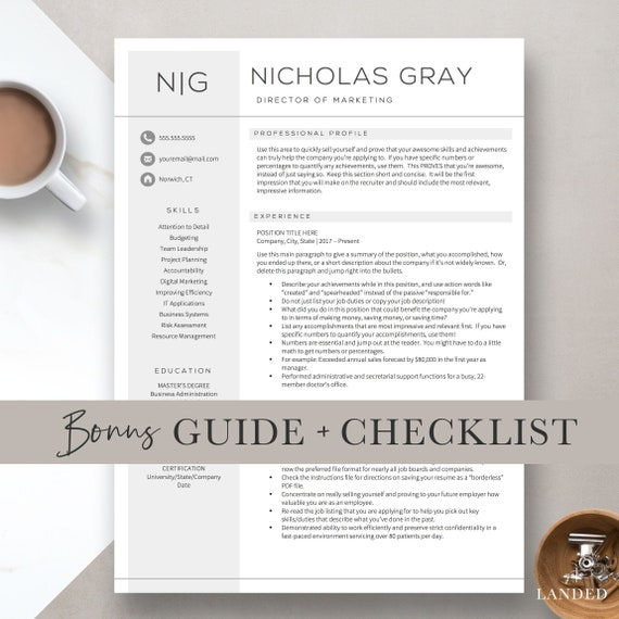 Professional Resume Templates For Word AND Pages Free Cover Etsy