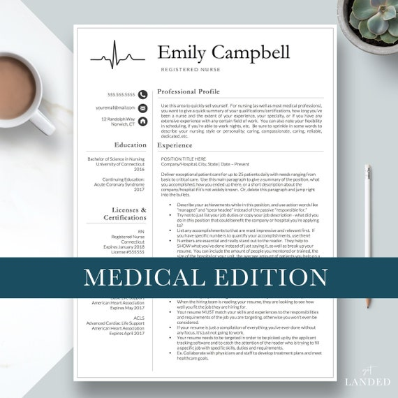 nurse resume template cv for nursing student nursing etsy