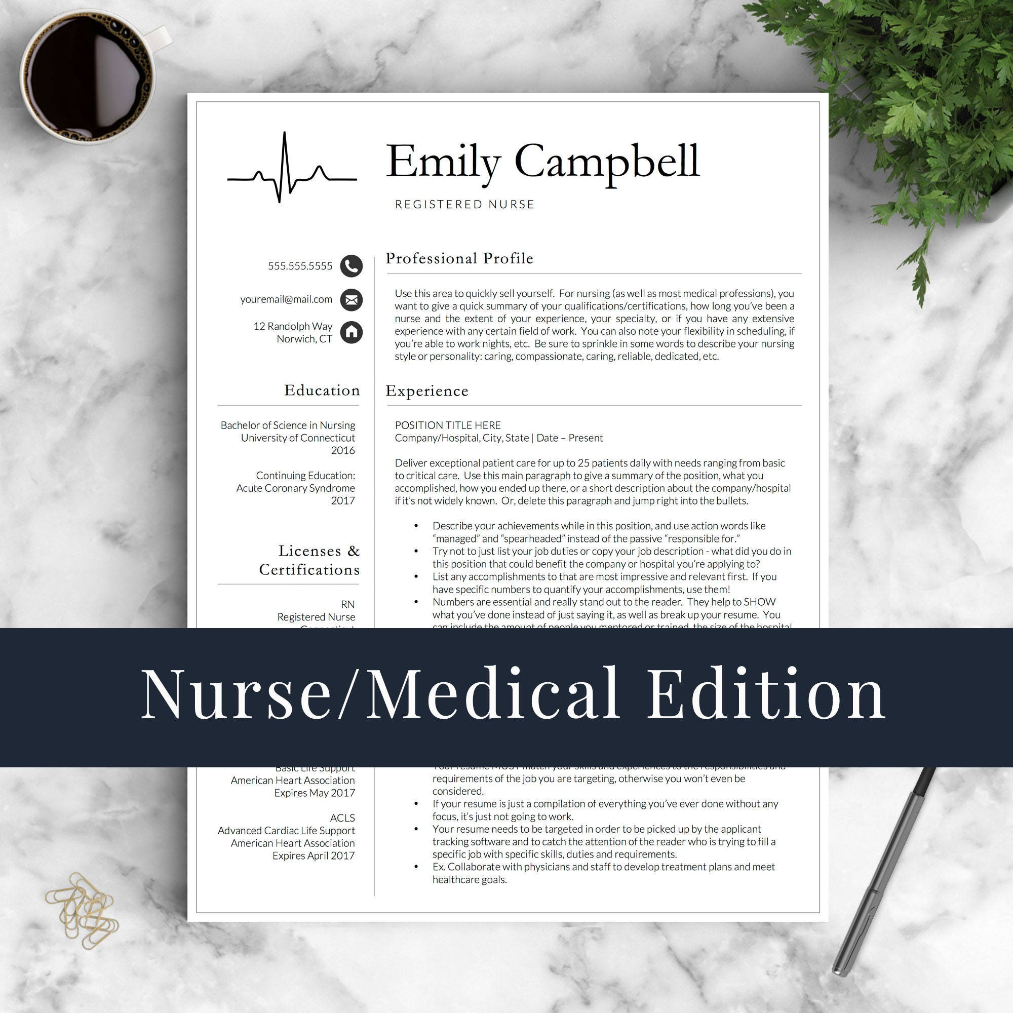 Enfermera plantilla de curriculum vitae para Word y páginas de