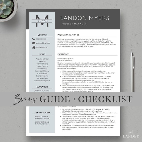 Professional Resume Template For Word And Pages 1 2 3 Page Resumes Cover Letter Resume Icons Professional Cv Design Instant Dl