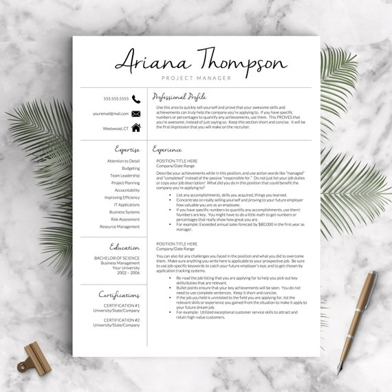 Creative Resume Template for Word and Pages Modern 1-3 Page | Etsy