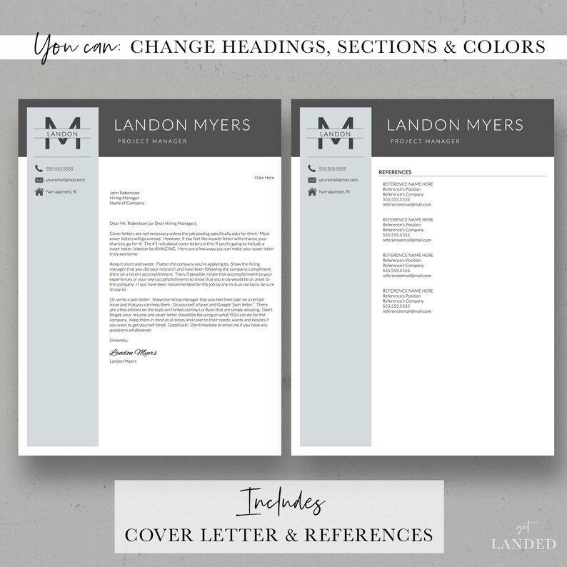 Professional Resume Template for Word and Pages | 1, 2 & 3 Page Resumes,  Cover Letter, Resume Icons | Professional CV Design | Instant DL