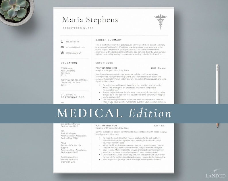 Nursing Resume Template Nurse Design Student Medical Doctor CV 2 Page Instant Download