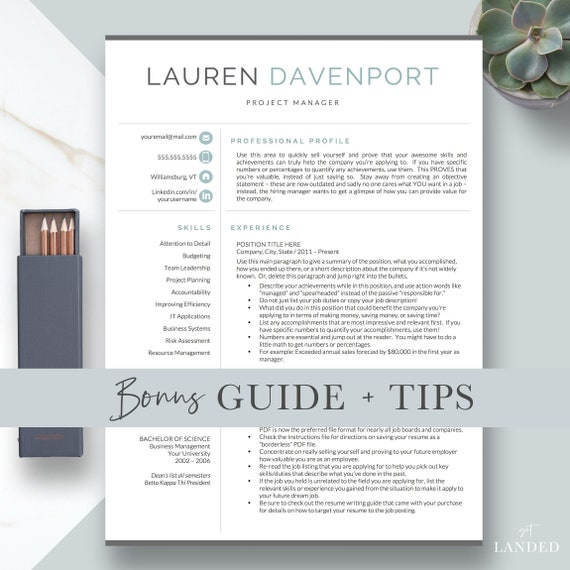 modern resume template guide 1 2 and 3 page resume etsy