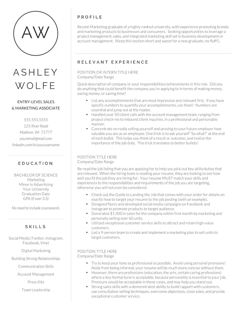 New Grad Resume College Grad Gift One Page Resume 1 and 2 Page Resumes for Grad Student College Grad Resume Template for Word /& Pages