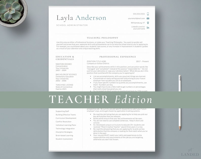 Principal Resume Template Teacher 2 Page CV Education Teaching Administration